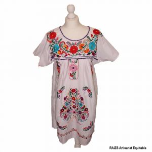 Robe traditionnelle mexicaine brodée Blanche