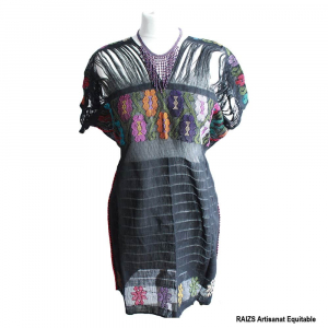 Robe noire tissée GUERRERO M/L Woven dress handcrafted in Guerrero, Mexico