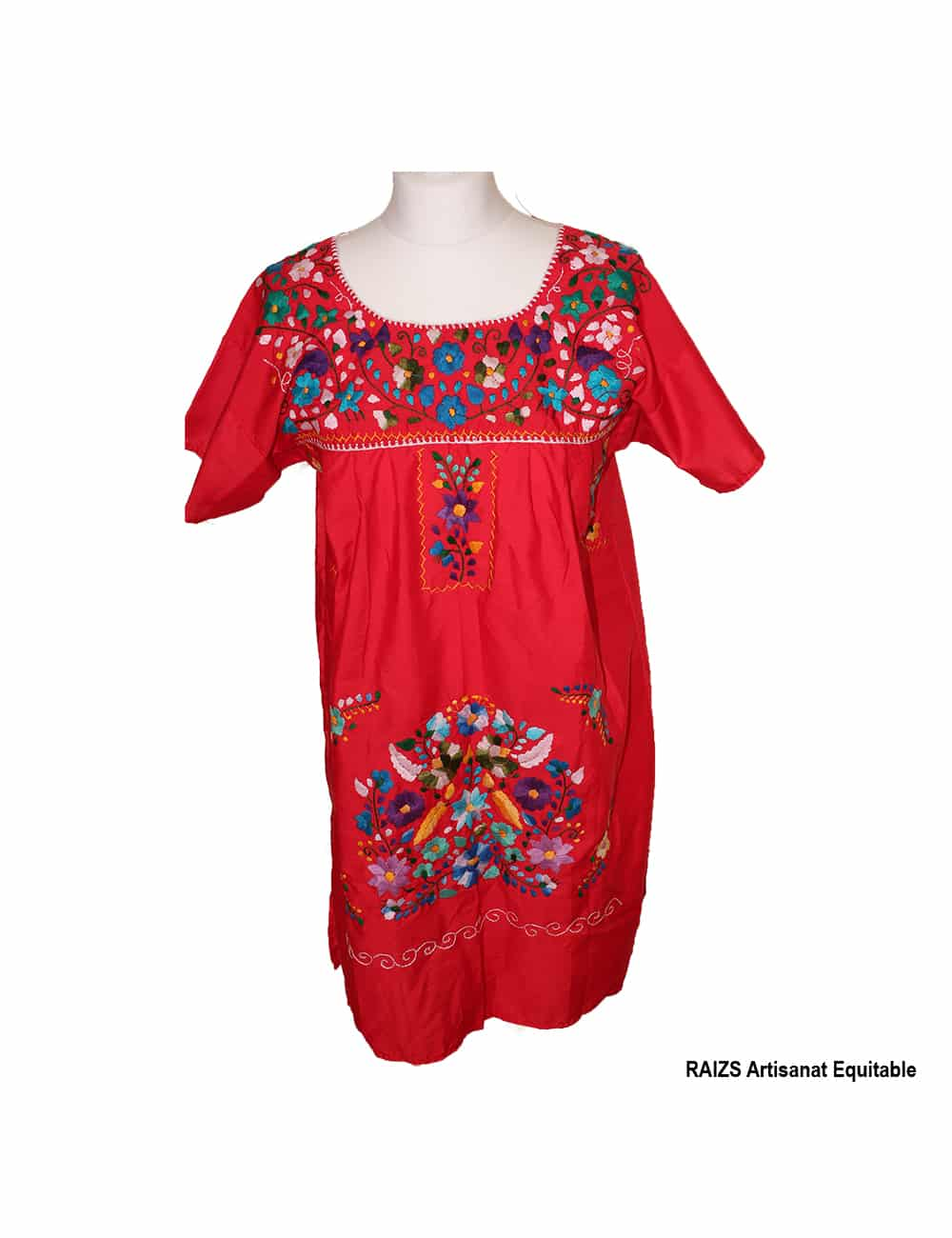 Robe traditionnelle mexicaine brodée rouge M